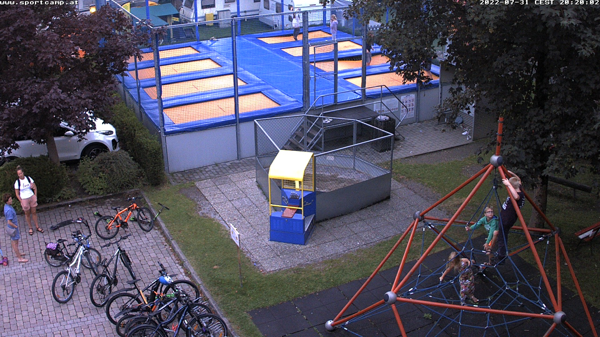 Webcam giant trampoline and camping
